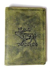 Jagdscheinetui Echtleder Hirsch-Motiv oliv